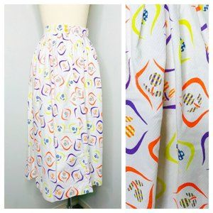 Vintage 60s Novelty Print Day Skirt Size S Small